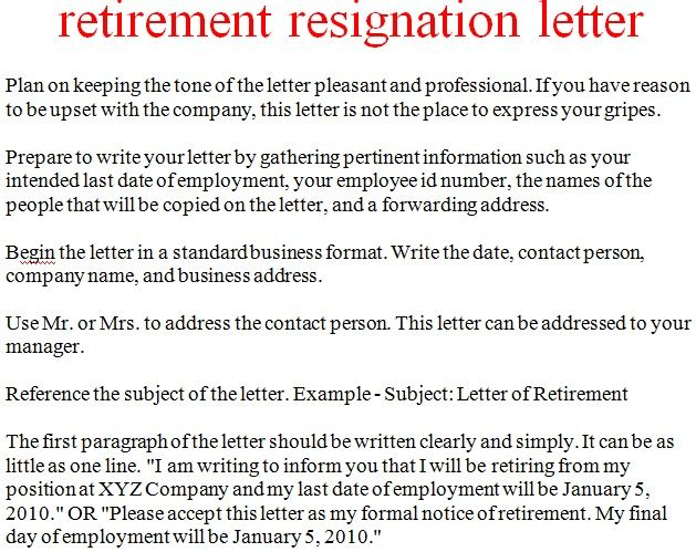 How To Write A Letter Of Resignation When Retiring
