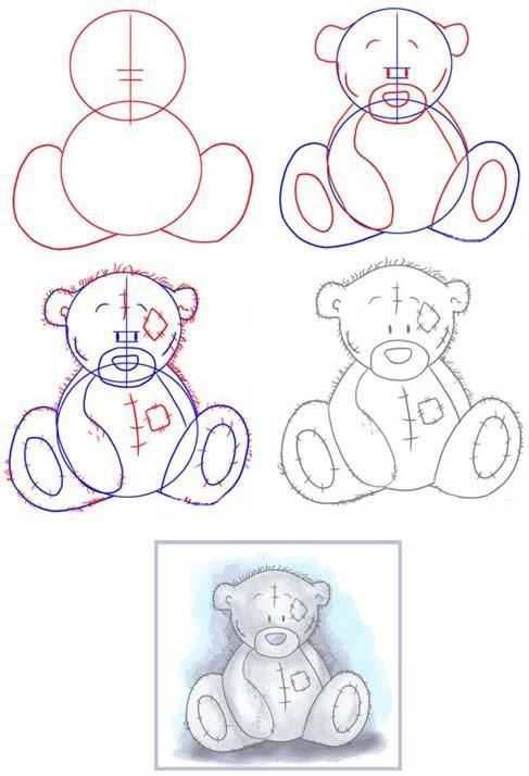 Free coloring pages. Step by step drawing of a TEDDY BEAR