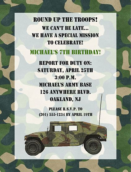 army invites | Camouflage Military Army Birthday Party Invitations