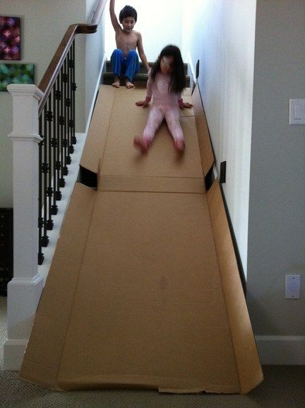 Turn an old box into an indoor slide. | 33 Activities Under $10 That Will Keep Your Kids Busy All Summer