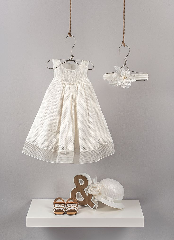 Ecru pleated empire dress from embroidered voile fabric and transparent striped organza. Decorated with ribbon lace and little crystals stones.   Ecru  straw hat decorated with handmade flower from embroidered cotton voile and organza striped bow  Ecru elastic band decorated with handmade flower