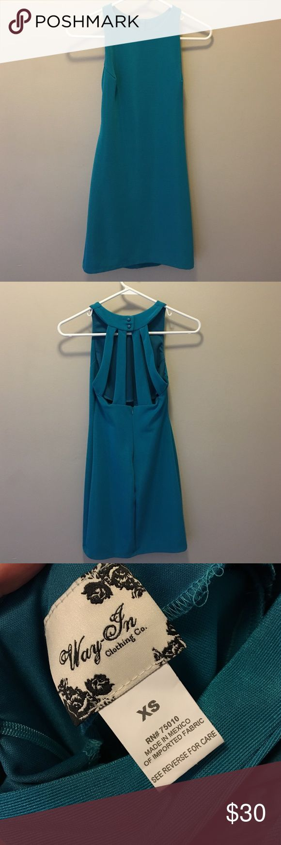 Moving Sale - Teal high neck body con dress This teal dress from Nordstrom is fitted with a cute cutout back! Nordstrom Dresses Mini