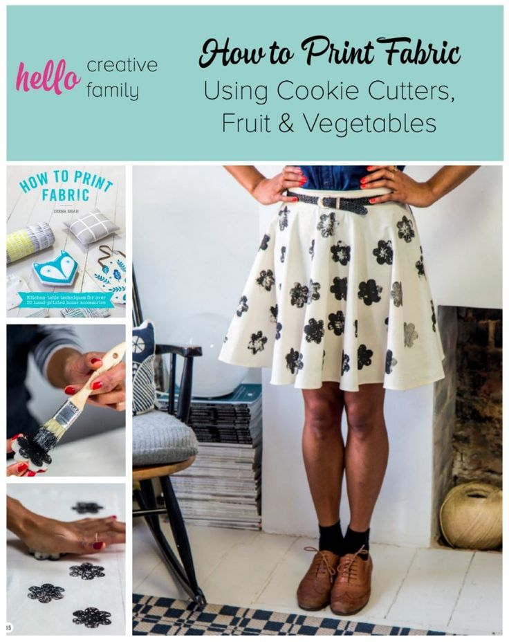 Want to print beautiful fabric at home? Learn how to print fabric using cookie cutters, fruit and vegetables!