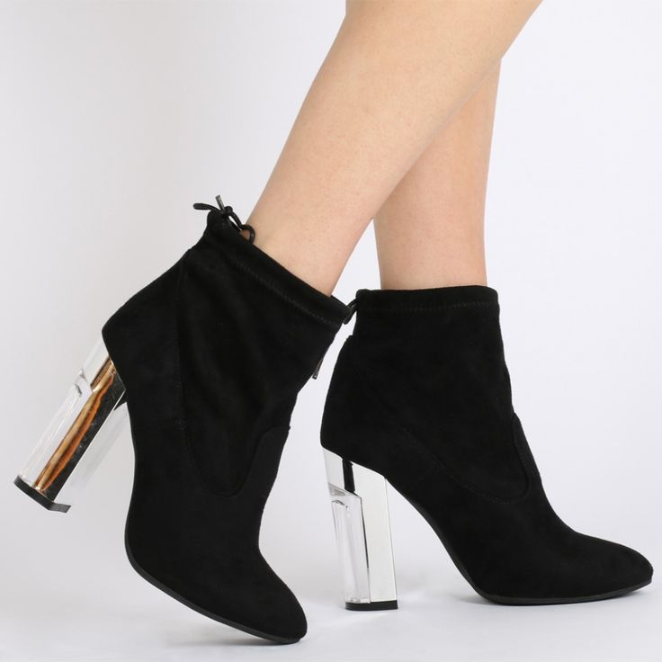 Halo Marble Effect Heel Ankle Boots in Black Faux Suede