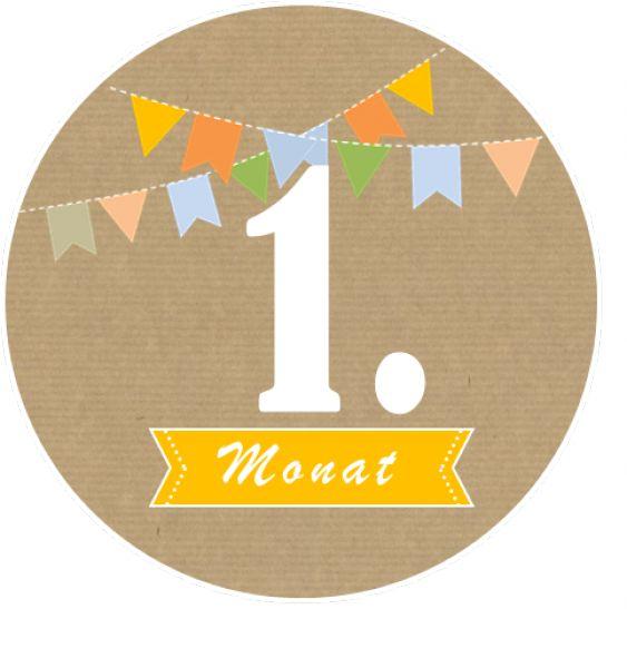 Monatsaufkleber Babymeilensteine zum Verzieren von Baby-Fotoalbum oder Kalender. Für jeden Monat ein eigener Aufkleber.