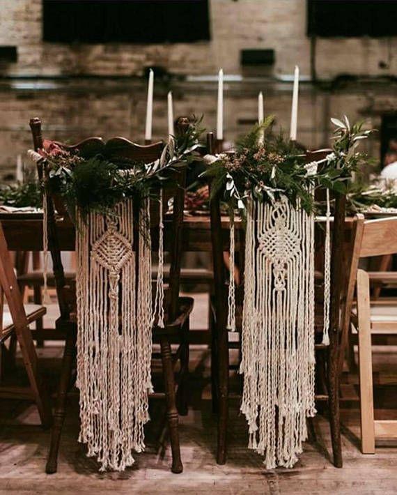 Zwei Makramee Stuhllehnen / Stuhl Schärpen / Makramee Hochzeitsdeko / Hochzeitsdeko / Festival Braut / Bo