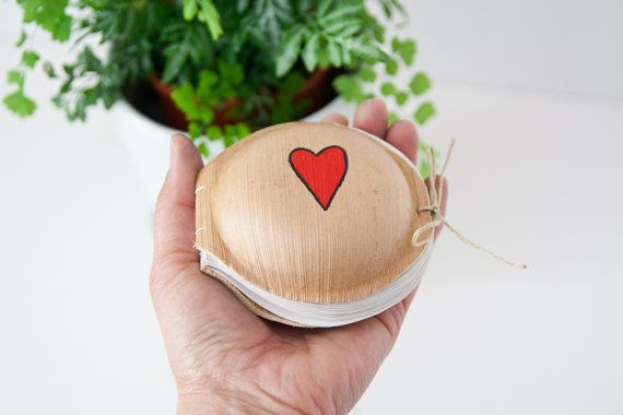 Cute Red Heart Journal Book. Palm Leaf Journal. by Mettaville