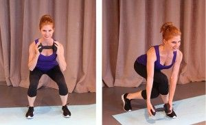 Booty Burn (Squat 'N Curtsey). By combining these two leg exercises together you'll tone your entire lower body. You'll hit up your glutes, quads and hamstrings with the squat, and you'll target your outer and inner thighs with the curtsey (remember to squeeze those inner thighs tight as you curtsey lunge).    To do: Holding one weight at chest level, start with your legs shoulder width apart. Squat down with your chest lifted and weight in your heels. Come up quickly so your legs straighten…