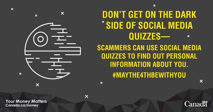 Avoid the dark side of social media quizzes. ⚠️  Be cautious of social media posts that ask you which beloved movie character you're most like.  Scammers can use these kinds of questions to get access to your personal information or social media networks.  More info on how to avoid social networking scams: http://ow.ly/TVEk30jKzAq #MayThe4thBeWithYou