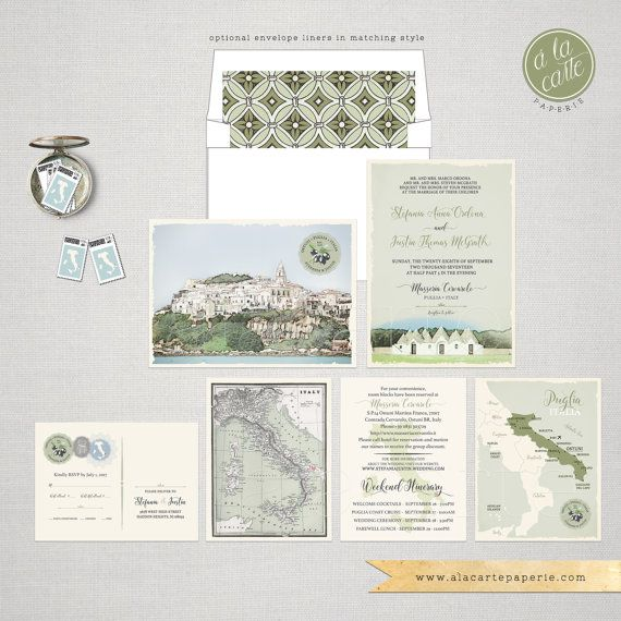 Destination wedding Italy Wedding Invitation Suite South Italian Invitation Puglia Basilicata landscape Olive green wedding -  ♥ Deposit Payment