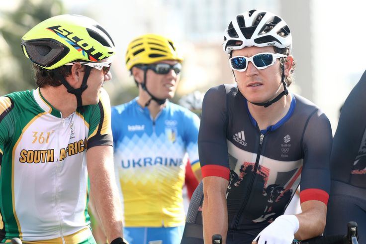 Geraint Thomas (R) of Great Britain is seen during the Men's Road Race on Day 1 of the Rio 2016 Olympic Games at the Fort Copacabana on August 6, 2016 in Rio de Janeiro, Brazil.