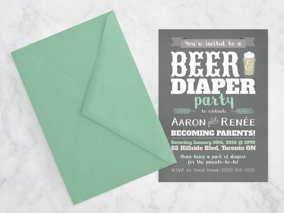 Mint Grey Beer & Diaper Party Invite / by MaddieMaeCreative
