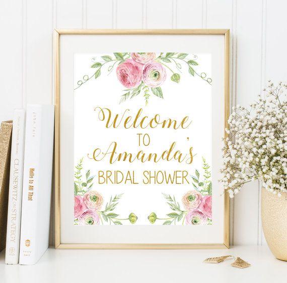 Bridal shower sign Bridal shower printable by FloralArtFantasy