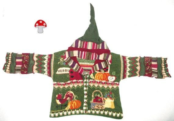 "Elf Hoodie ""Harvest"" Plus Size 2X Or XXL Pointed Hood Cardigan Pumpkins Rooster Herbs Apples Thanksgiving Sweater Green Burgundy Tan Pixie"