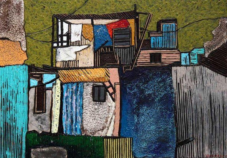 Paintings : Escapes XIX - Chathurika Jayani 2015, Mixes media on canvas, 36 x 51 cm Art Space Sri Lanka
