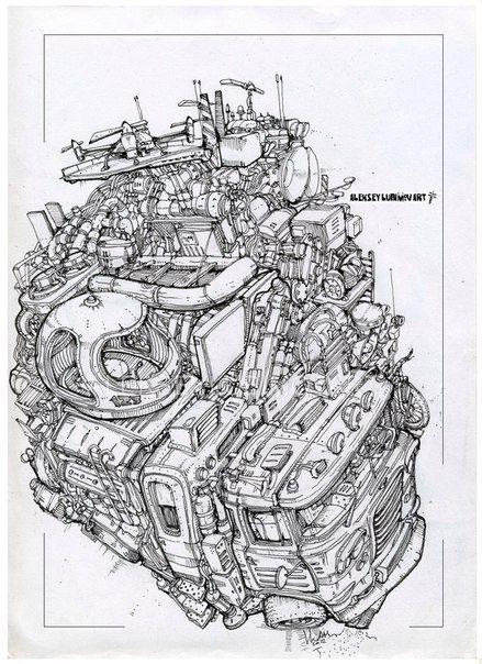 Truck  Author Aleksey Lubimov #алексейлюбимовбиомеханика #алексейлюбимов #стимпанк #дизельпанк #биомеханика #marchofrobots #steampunk #dieselpunk #alekseylubimov_art #biomechanical #lineart #hotrod #alekseylubimov_art
