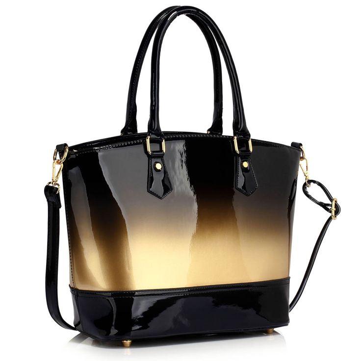 Barva kabelky: zlatá/černá. Velikost 32 cm (Š) a 27 cm (V). Elegantní a prostorná kabelka, lesklý vzhled.