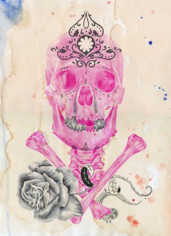 Pink ballpoint pen drawing on tea-stained paper by Paul Alexander Thornton.  #skull #skulls #obsessedwithskulls