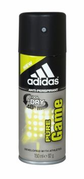 Adidas Anti Perspirant Cool & Dry 150ml Pure Game 48 hour protection. Deveopled with athlete