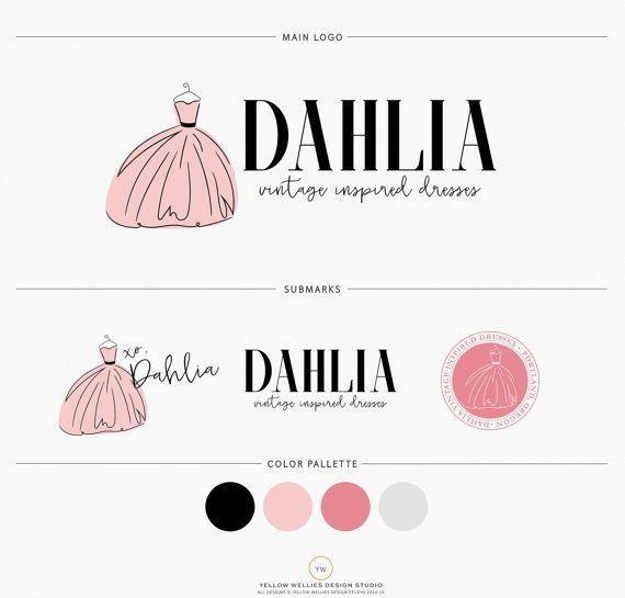 Shop Clothes Logo Watercolor Dress Gown Logo Design Dressmaker Logo Clothing Designer Logo Boutique Shop Logo Design Formal Wedding Dress Logo Dress Logo Clothing Logo Shop Logo