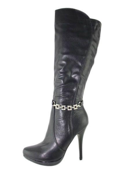 Bottes à talons hauts noir bout pointu fermeture à glissière bottes courtes femmes avec des détails en métal