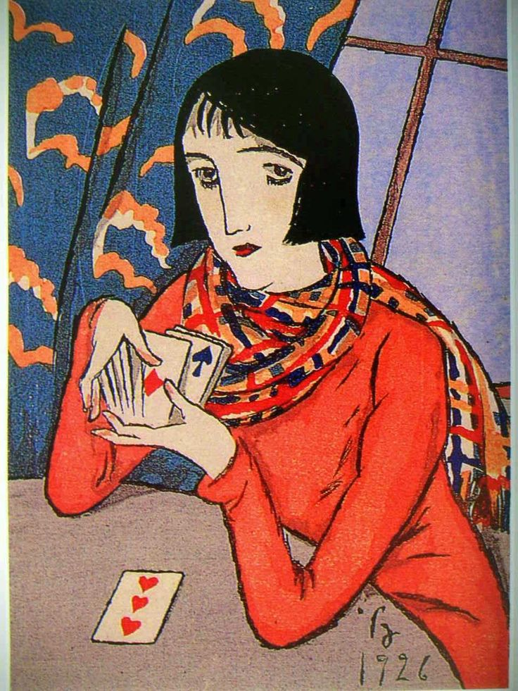 Japanese woman with deck of cards.