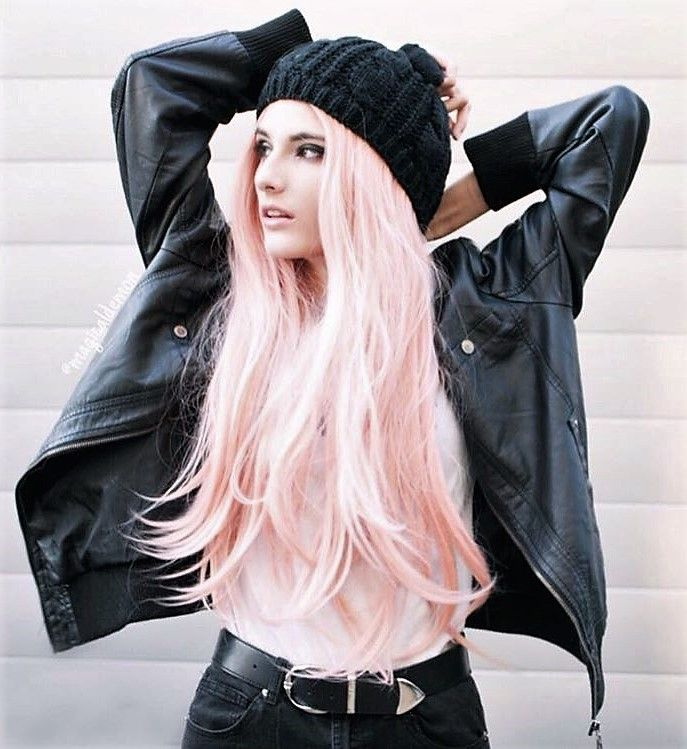 Long wavy pastel pink wig by magicaldemon