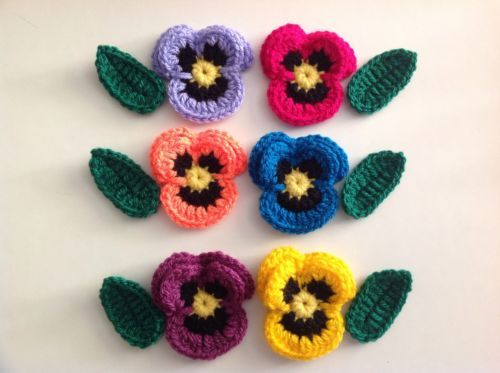 6xNew Lovely Crochet Pansies Flowers+6 Leaves Applique Embellishment in Crafts, Crocheting & Knitting, Other Crocheting & Knitting | eBay