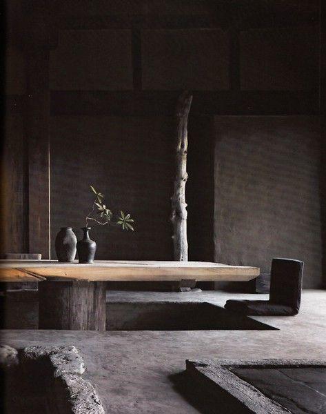 japanese tea room interior, black, charchoal, wood table