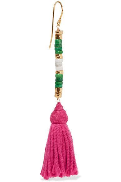 Aurélie Bidermann - Sioux Gold-plated, Stone And Tassel Earrings - Pink