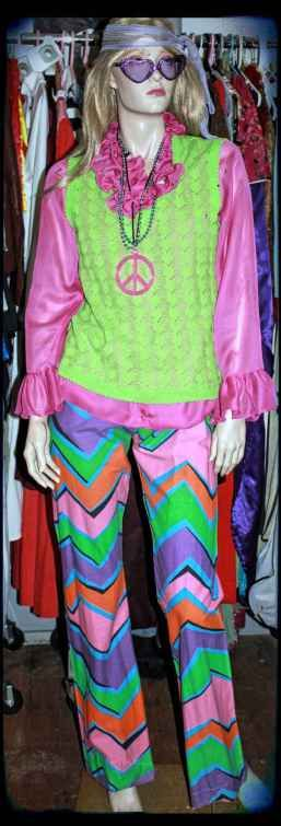Pink and green hippy costume