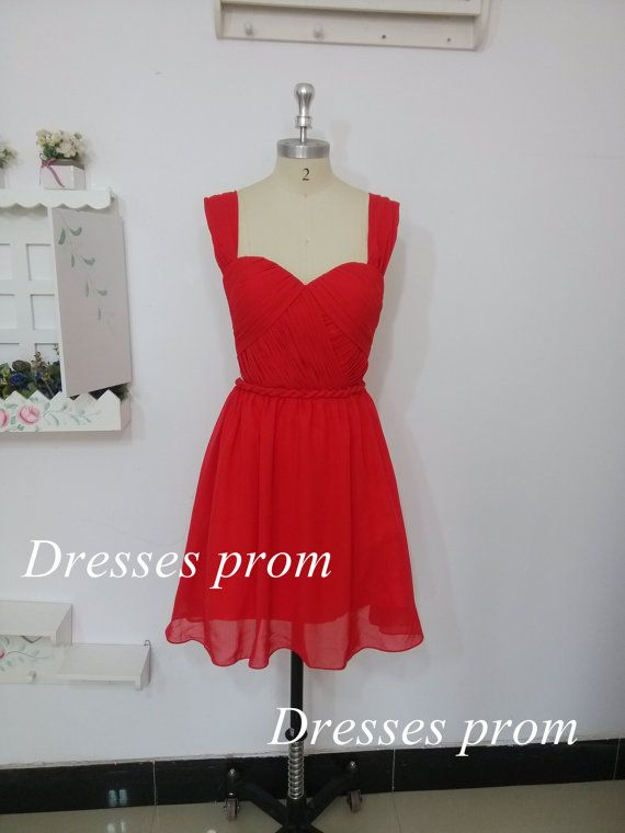 2014 red chiffon knee length bridesmaid dresses,cheap cute sweetheart bridesmaid gowns,simple elegant dress for wedding party. on Etsy, $59.99