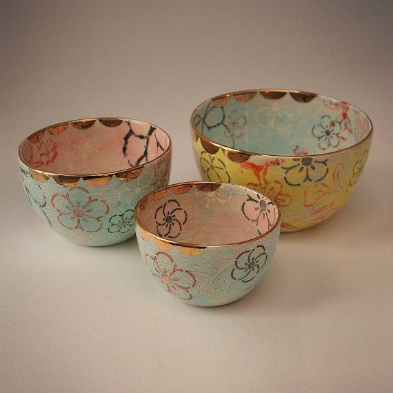Handmade Ceramic Nested Mixing Bowl set of 3 in Lotus Garden