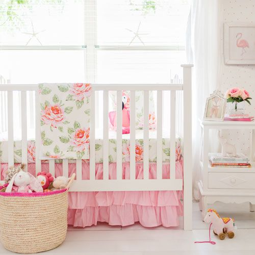 Pink Roses Girl Crib Rail Cover Set  |  Hello Rose Cream Bumperless Crib Collection