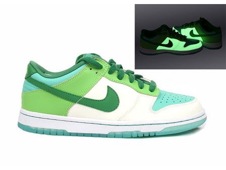 Women's Nike Dunk Low Asia Glow in the Dark: shoe features butter, green  and blue colorschemes, leather upper with perforated toe for ventilation,  ...