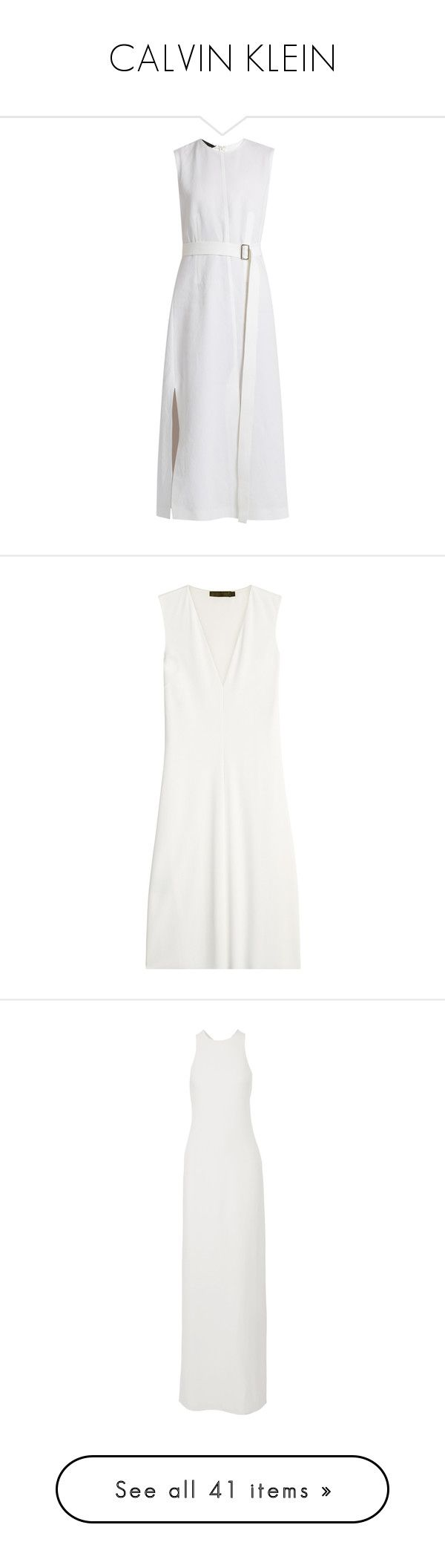 """""""CALVIN KLEIN"""" by mari-sv ❤ liked on Polyvore featuring dresses, white, white waist belt, white panel dress, white cotton dress, white day dress, cotton dresses, v neckline dress, calvin klein collection dresses and white dress"""