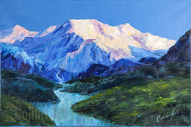 "Author's reproduction (giclee) of Original Handmade Oil Painting Sunrise in the Mountains 16"" x 24"" on Canvas by Colibri Art Material: gallery canvas Prints  Giclée  colorful painting  original painting  painting for gift  impressionism  landscape mountains  dawn  sunrise  river  blue  pink  oil painting  picture"