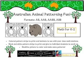 Australian Animals Theme Patterning Activities & Worksheets K-2  In this pack you will receive colored pattern strips to print and laminate and use for your classroom.  Animals include: Koala Kangaroo & joey Wombat Echidna Platypus Saltwater crocodile Emu Dingo Kookaburra & Australia Map Outline  You will also receive the same patterns in worksheet format in black and white to give to individual students.  There is also another worksheets where the students color in the pictures to create…