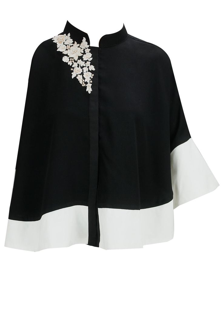 Black and cream colour blocked embroiderd cape top available only at Pernia's Pop-Up Shop.