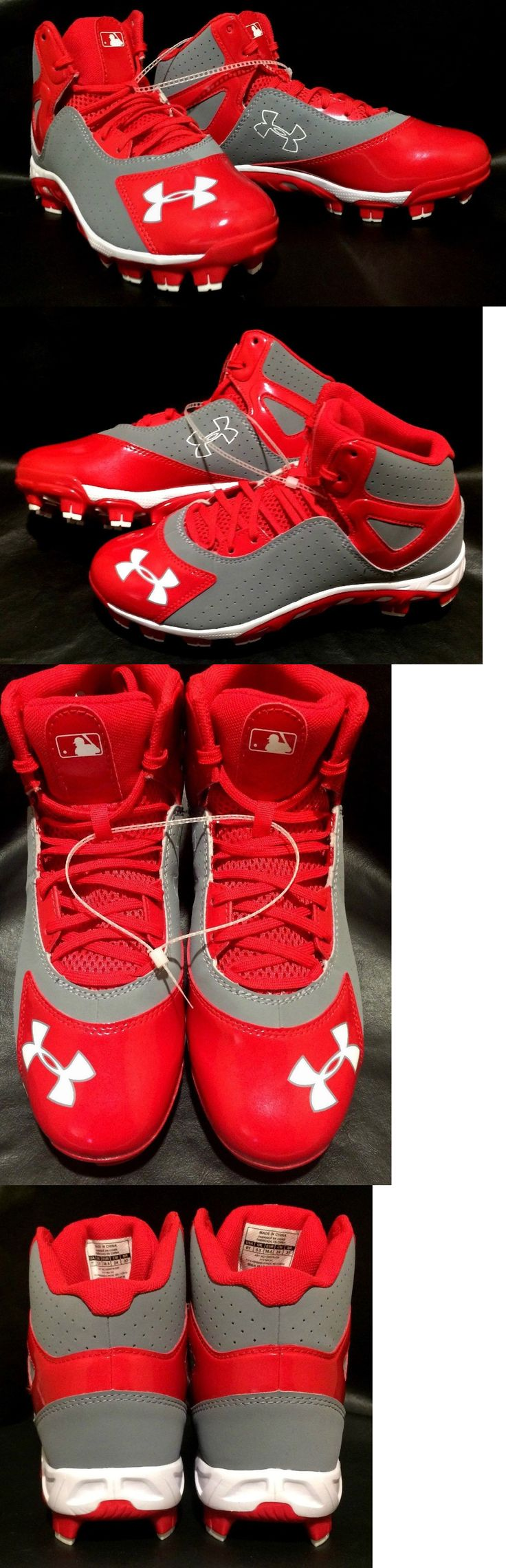 Youth 159061: Under Armour Youth Baseball Cleats 3/4 High Top Size 5.5Y Red/Gray BUY IT NOW ONLY: $42.99