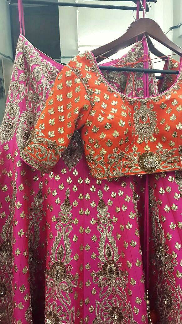 ZAFFRAN  |  Bridal zardoz-gota  lehenga #IFE0892. For orders & lookbooks, contact: contact waliajonesclothing@gmail.com