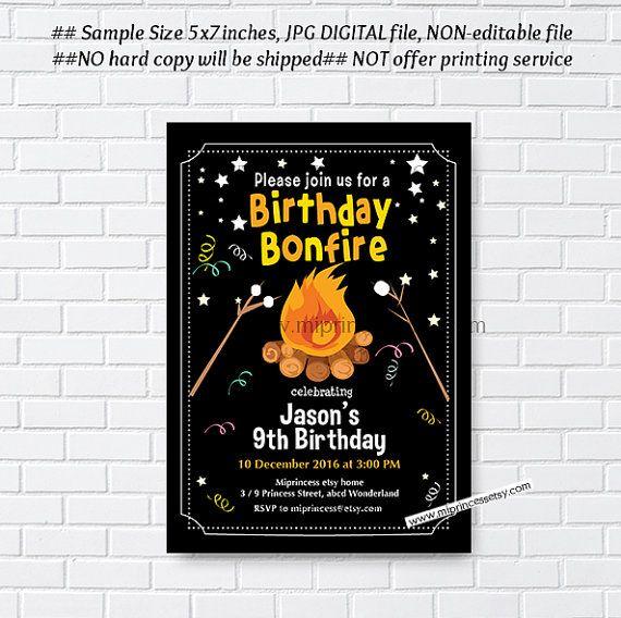 Bonfire Birthday Invitation Campfire Birthday Invitation