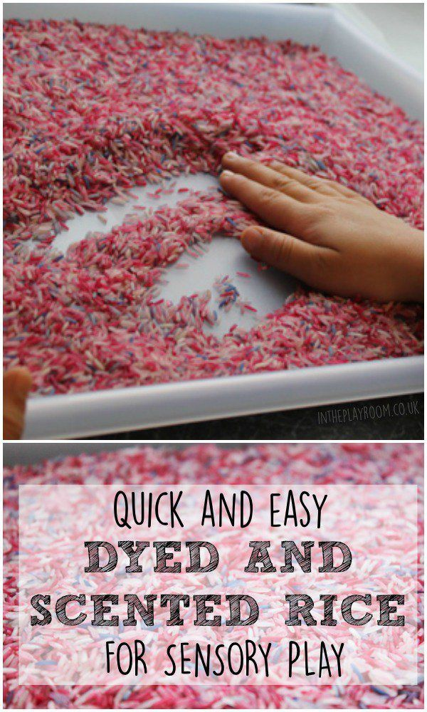 Quick and easy dyed and scented rice for sensory play. This one is lavender rice