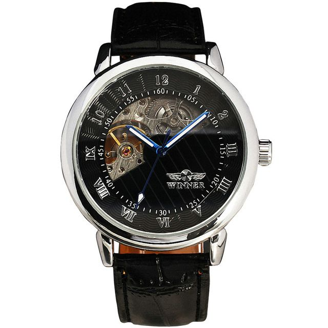 We love it and we know you also love it as well WINNER Men Luxury Mechanical Wrist Watch Black Leather Strap Mechanical-hand-wind Roman Number Golden Dial just only $19.99 with free shipping worldwide  #menwatches Plese click on picture to see our special price for you