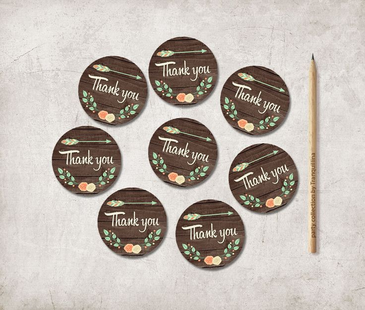 Printable Thank you Tags, Rustic Favor Tags Printable, Wedding Thank you Favor tags, Shower Thank you Tags, Thank you Stickers - pinned by pin4etsy.com