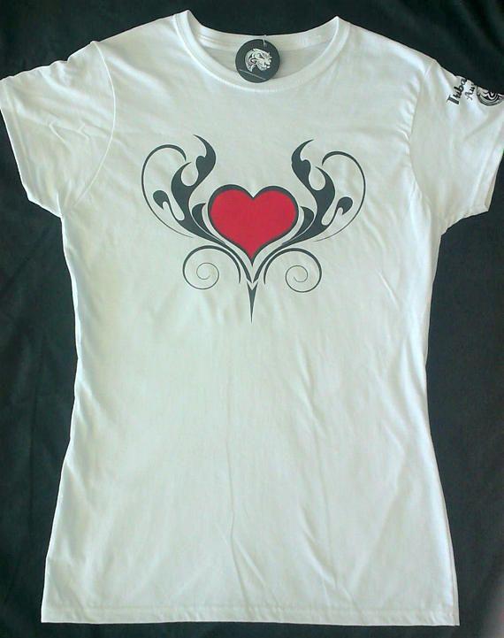 Women's Ladies Graphic Tribal T/Shirt (Tribal Heart - Red) - Tribal - Tribal Tee - Tribal style - Tribal wear - Tattoo graphic - Vinyl