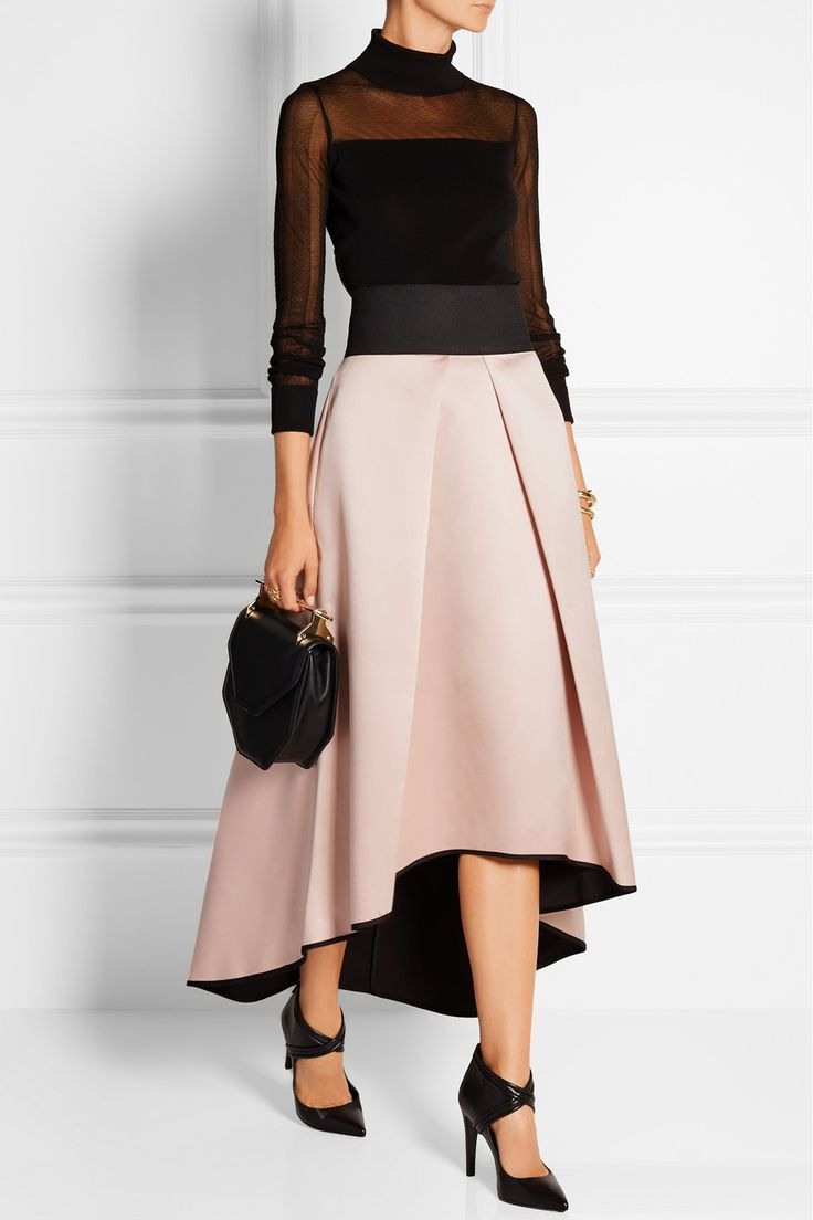 Milly|Pleated bonded satin skirt|NET-A-PORTER.COM