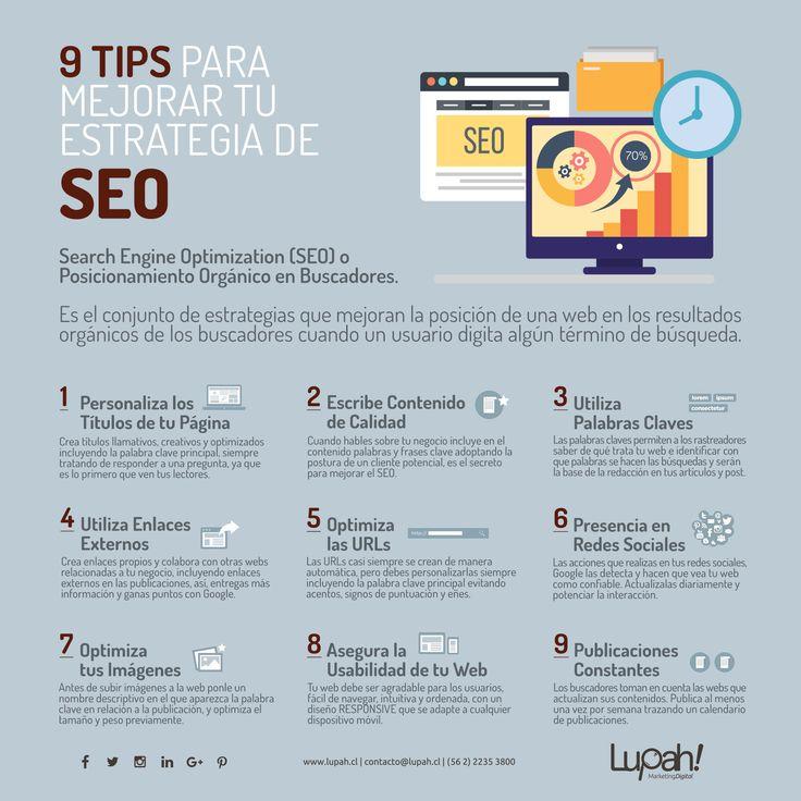 9 TIPS PARA MEJORAR TU ESTRATEGIA DE SEO (Search Engine Optimization) o Posicionamiento Orgánico en Buscadores.  Considera estos tips para aplicarla a tu estrategia que mejorará la posición de tu página web en los resultados orgánicos en los buscadores cuando un usuario digita algún término de búsqueda.