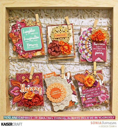 """'Tags in a Frame' by Sonia Thomason Design Team member for Kaisercraft Australia Official Blog Group Post Featuring two of their New May 2017 collections. """"Sage and Grace"""" and """"Bombay Sunset"""" Learn more at kaisercraft.com.au/blog ~ Wendy Schultz ~ Tags."""