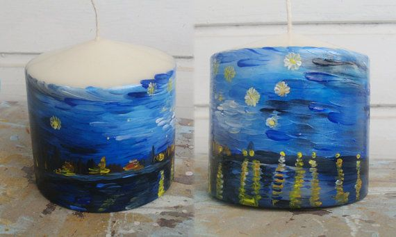 Candle  Starry night over the Rhone by allabouthandicraft on Etsy